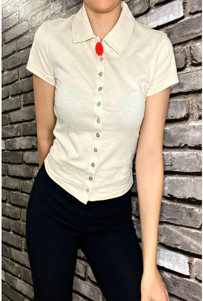 Nobasicbasic Kadın Krem Polo Yaka Kısa Kollu Düğmeli Bluz