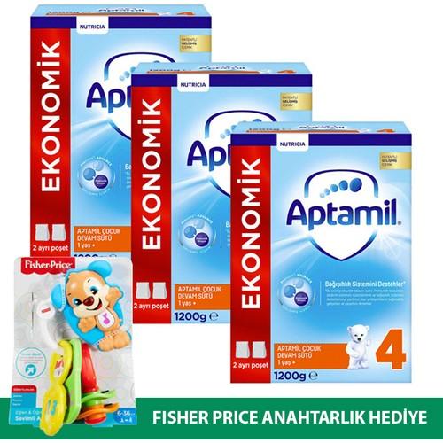 Aptamil 4 Çocuk Devam Sütü Yeni Formül 1200 gr x 3 Adet + Oyuncak