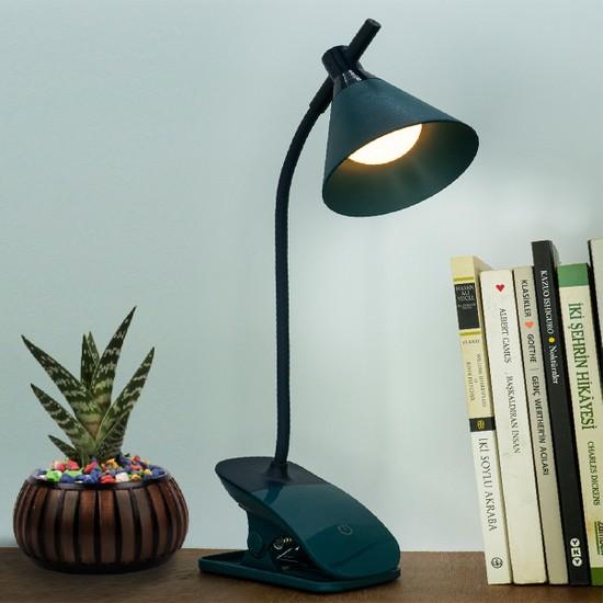 Wlue Şarjlı LED Masa Lambası Dokunmatik Çalışma Okuma Işığı 3 Kademeli (Sıcak-Beyaz-Gün Işığı)