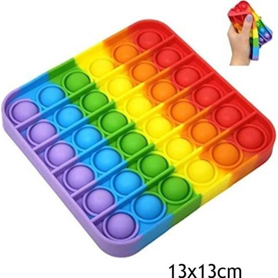 Push Pop Bubble Popit Silikon Stress Oyuncağı Pop It Gökkuşağı Renk Kare Push Pop Bubble Fidget Tiktok 13 x 13 cm