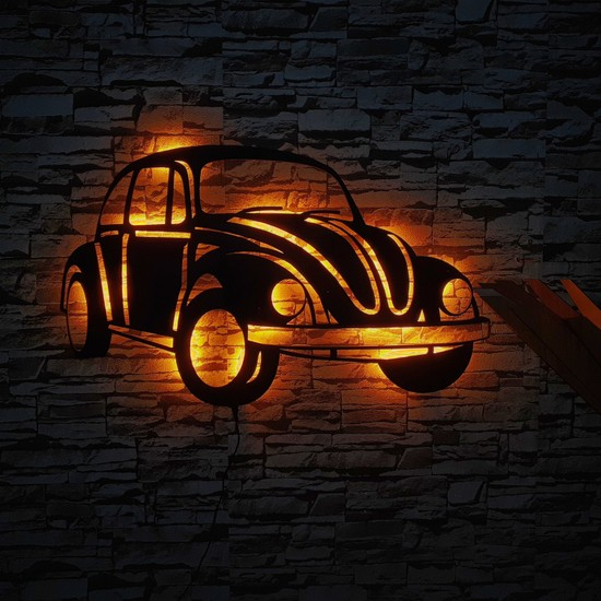 Alaca Led Klasik Vosvos LED Işıklı Ahşap Duvar Dekoru Tablo 50X30CM