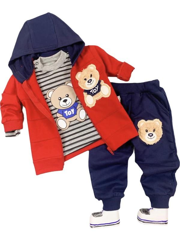 BKM22 Tarz Ayıcık Işlemeli Bebek 3'lü Takım