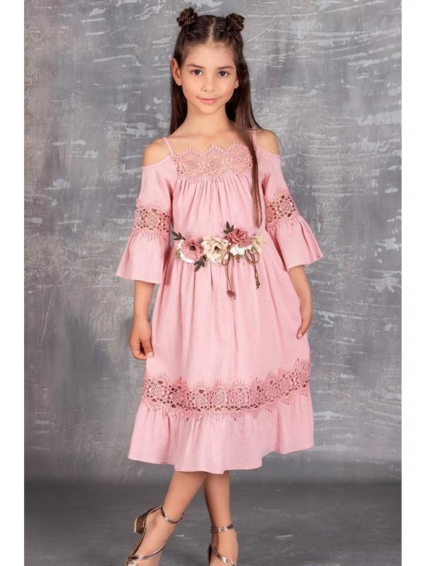 Çiçekli Şile Bezi Kız Çocuk Elbise