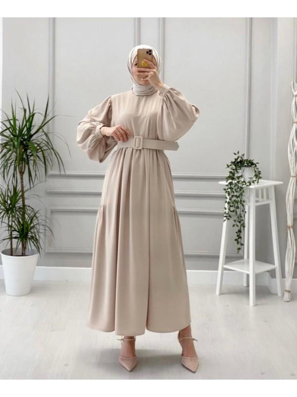 Stileest Kemerli Uzun Elbise