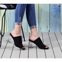 Odesa Ayakkabı Kadın Triko Şeffaf Topuklu Ayakkabı