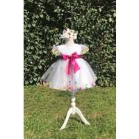 Bella Donna Rengarenk Ponponlarla Süslenmiş Beyaz Kristal Tül Kız Çocuk Elbise