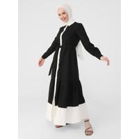 Refka Kemerli Garnili Eteği Volanlı Elbise - Siyah Beyaz - Refka Casual
