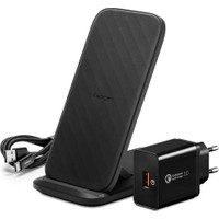 Spigen Essential F316W Qi Kablosuz Şarj Cihazı + Quick Charge 3.0 18W Priz Adaptörü + USB-C to USB-A Şarj Kablosu (iOS 7.5W / Android 15W Hızlı Şarj Destekli) - 000CH24979