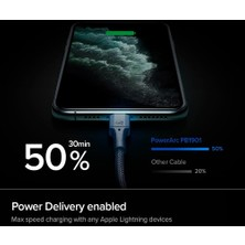 Spigen PowerArc Apple USB-C to Lightning PD (Power Delivery Destekli) 100W DuraBend Hızlı Şarj ve Data Kablo MFI Lisanslı (1 Metre) Black - 000CA26491