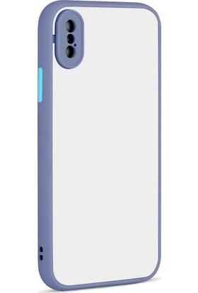 Nezih Case Apple iPhone Xs Max Uyumlu Renkli Kenarlı Mat Silikon Kılıf Mor