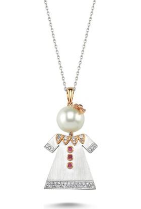 Sira Mücevherat Bebek Kolye - Beyaz Altın