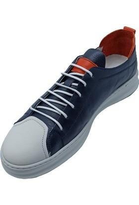 James Franco Lacivert Deri Erkek Sneaker Ayakkabı
