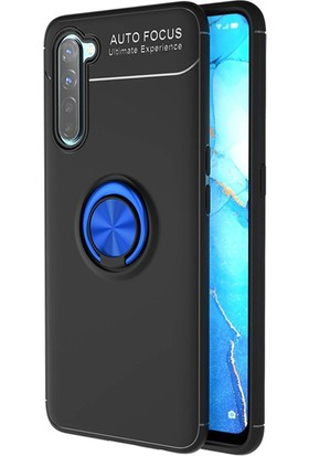 Moserini Oppo A91 Vip Autofocus Mavi Yüzüklü Siyah Telefon Kılıfı - Arka Kapak