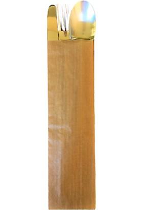 Anadolu Kağıtçılık Çatal Kaşıklık Çizgili Baskısız Şamua Kraft Kese Kağıdı 7X28 cm 10 kg 3400'LÜ