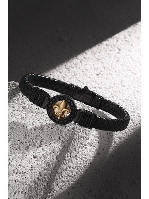 FRNCH Lilyum Figürlü Gerçek Deri Zirkon Taşlı Mat Siyah-Gold Renk Erkek Bileklik FRJ11206-1306-B2G