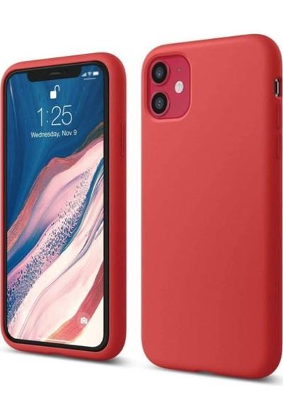 Mtncover Apple iPhone 11 Uyumlu Içi Kadife Lansman Liquid Silicone Kılıf Şok Emici Tam Koruma Sağlayan Kılıf Kırmızı
