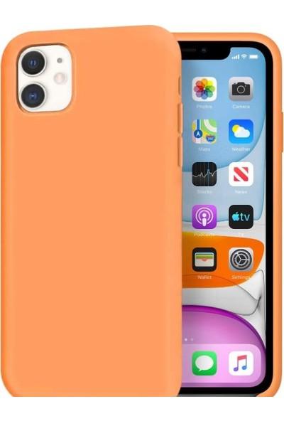 Mtncover Apple iPhone 11 Uyumlu Içi Kadife Lansman Liquid Silicone Kılıf Şok Emici Tam Koruma Sağlayan Kılıf Turuncu
