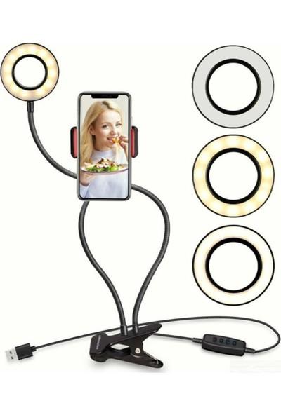 Youtuber Makyaj Kuaför Make Up 3 Farklı Selfie Işıklı Cep Telefonu Tablet Tutacağı Standı