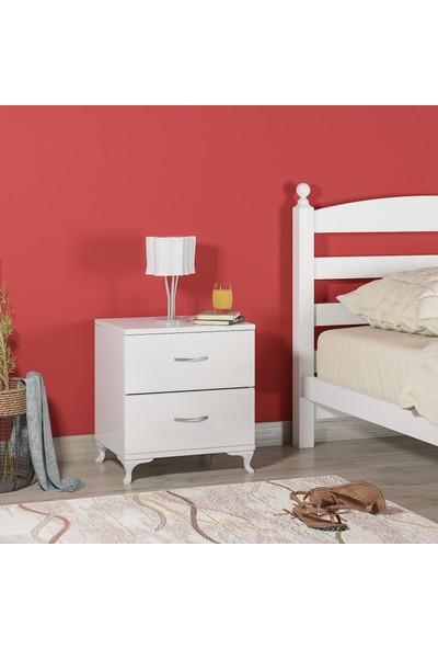 Mihenk Yatak Odası 2 Çekmeceli Beyaz Komodin