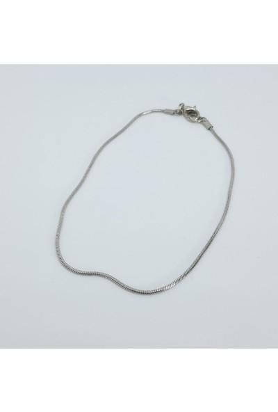 Cosibella Erkek Ince Yılan Gümüş Renk Bileklik 20 cm