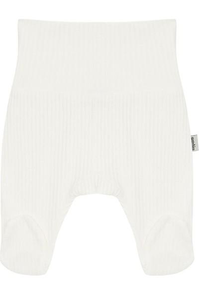Antebies Beyaz Jakarlı Ribana Pantolon