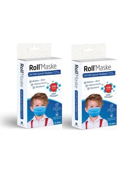 Roll 3 Katlı Telli Cerrahi Maske Erkek Çocuk 10 Lu 2 Adet