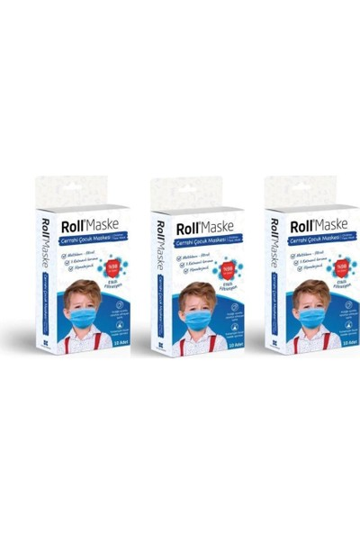Roll Erkek Çocuk 3 Katlı Telli Cerrahi Maske 10 Lu 3 Adet