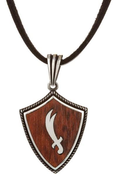 Candie Silver Yılan Ağacı Zemin Üzerine Zülfikar Kılıç Deri Ipli Gümüş Kolye