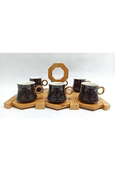 Vadi Bambu Standlı Mermer Desen Porselen Kahve Fincanı Takımı 6 Kişilik Fincan Seti 6' Lı