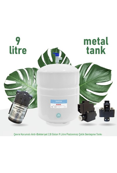 Hanedan Aqua 13 Aşama 9 L Çelik Tanklı Pompalı Süper Sarım Membranlı Su Arıtma CIHAZI-240