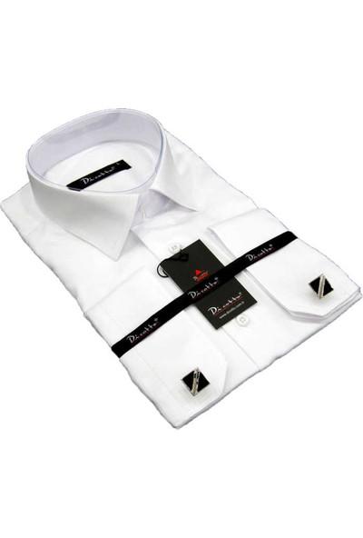 Dicotto Beyaz Klasik Kesim Micro Kumaş Kol Düğmeli Erkek Gömlek - 190-1