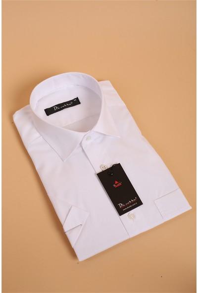Dicotto Beyaz Büyük Beden Kısa Kol Düz Renk Klasik Erkek Gömlek - 500-1