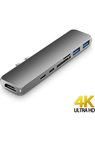 Daytona FC03 Macbook Uyumlu Type-C to 4K 1080p HDMI 2* USB 3.0 SD TF PD USB-C Okuyucu 7IN2 Çevirici Hub Adaptör
