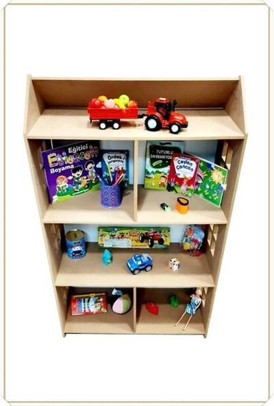 Oyuncakavm Kitaplık Raf Çocuk Bebek Odası Oyuncak Evi Oyuncak Kutusu Dolabı Dolap Ahşap Montessori