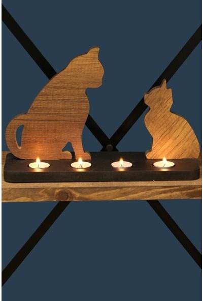 Oyuncakavm Dekoratif Ahşap Kedi Figürlü Mumluk