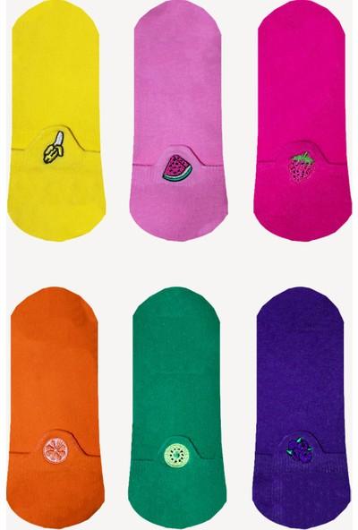 Limmon Store 6'lı Meyveler Nakışlı Patik Erkek Çorap Set