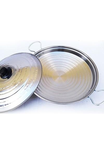 Üzüm Çelik Kavurma Sacı, Kapaklı Saç Kavurma Tavası, Paslanmaz Krom 45 cm