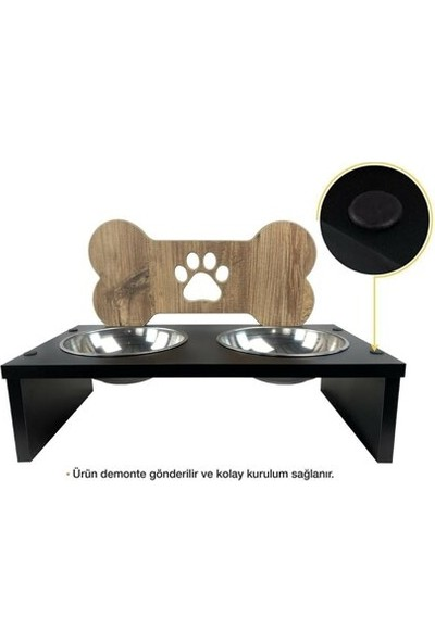 Oyuncakavm Oyuncak Avm Köpek Mama ve Su Kabı - Kemik - Ahşap