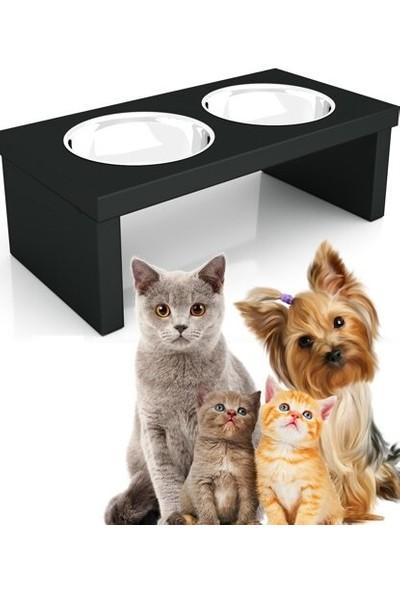 Oyuncakavm Oyuncak Avm Çelik Kaseli Çiftli Ahşap Kedi/köpek Mama Kabı