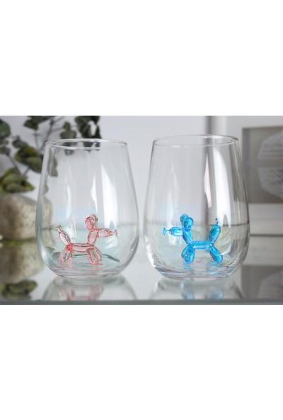 Adamodart Pembe&mavi Balon Köpek Figürlü 2'li Su Bardağı