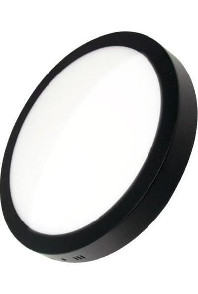 Aral 24 Watt Sıva Üstü Yuvarlak Siyah Kasa Beyaz Işık LED Panel Armatür