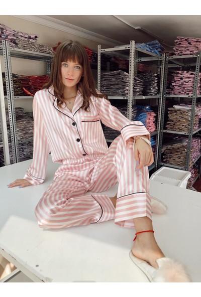 Serbella Pink Uzun Kollu Pijama Takımı L