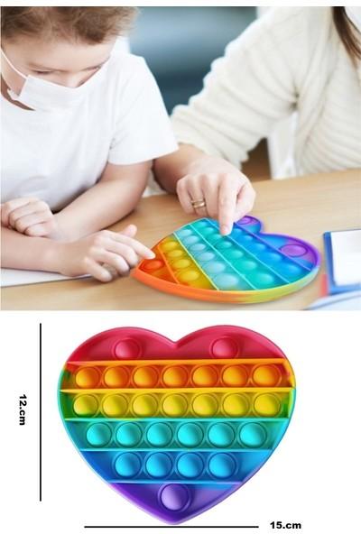Ayas Eğitici Oyuncak Himmiy Pop It Push Bubble Fidget Zihinsel Stres Oyuncağı Gökkuşağı Ithal Gerçek Ürün Kalp