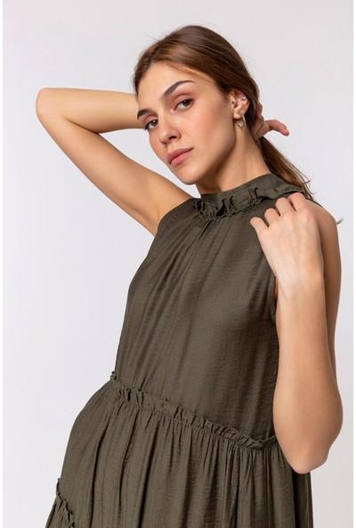 Batik Volanlı Yazlık Elbise