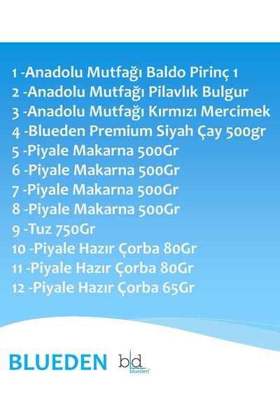 Blueden Ramazan Paketi Ramazan Kumanya Yardım Erzak Kolisi 12 Parça 5 Nolu Paket