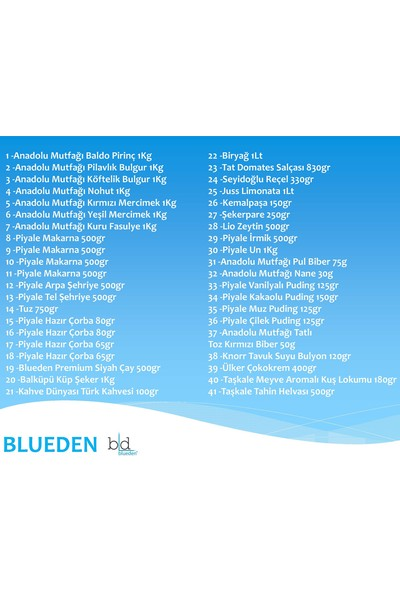 Blueden Ramazan Paketi Kumanya 41 Parça 6 Nolu Paket