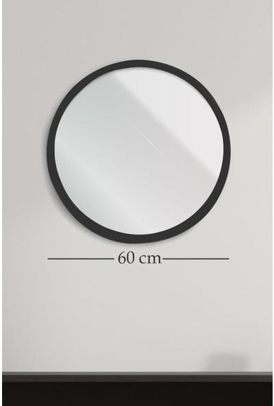 Hüma's Dekoratif Yuvarlak Beyaz Duvar Salon Ofis Aynası 60 cm