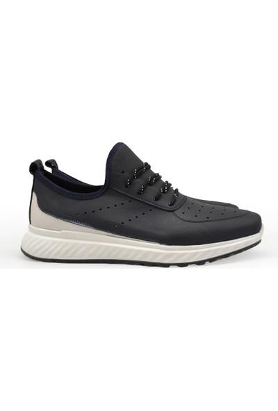 James Franco 6037 Lacivert Beyaz Günlük Erkek Deri Spor Ayakkabı