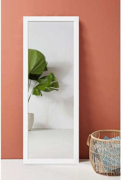 Hüma's 100 x 58 cm Beyaz Ahşap Dekoratif Retro Boy ve Duvar Aynası