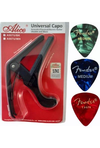 Alice Universal Quickchange Aluminyum Gitar Capo Akustik Klasik Elektrik Ukulele Saz Bağlama Ukulele Kapo + 3 Pena